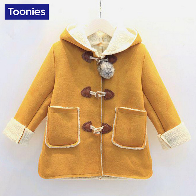 2017 Winter Autumn Kids Fashion Coats Children Jackets Baby Girls Long Sleeve Warm Outerwear Cashmere Baby Girl Clothes 2 Color