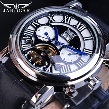 Jaragar Automatic Mechanical Watch Mens Genuine Leather Calendar Display Roman Tourbillion Watches Top Brand Luxury Montre Homme