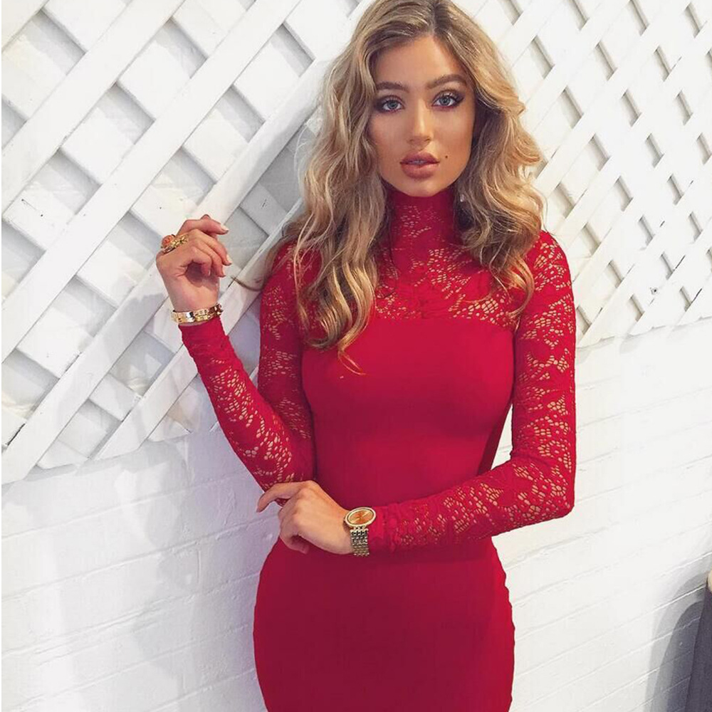 Hearty 2018 New Style Fashion Brown Patchwork Mesh And Suede Dress Elegant O Neck Long Sleeve Bodycon Night Club Party Dresses Vestidos Women's Clothing