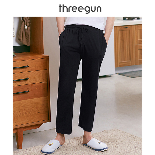 THREEGUN Men's Cotton Pajama Pants 2019 New Loose Casual Men's Home Trousers Drawstring Sleep Bottoms Male Mens Lounge Pants
