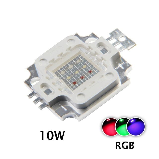 1ชิ้น/ล็อตใหม่10วัตต์RGBพลังงานที่สูงนำแสงโมดูลโคมไฟหลอดไฟชิปSMD DC 9 11โวลต์สีแดง/สีเขียว/สีฟ้าสำหรับfloodlightนำแสง