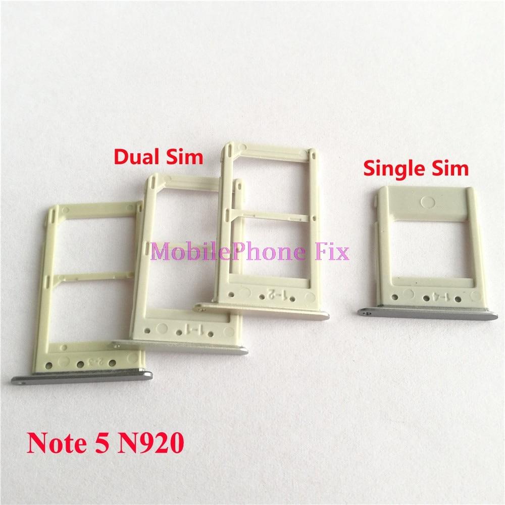 2 PCS Sim Card Tray For Samsung Galaxy Note 5 Note5 N920 Single / Dual Sim Housing Parts Sim Card Tray Slot Holder Parts