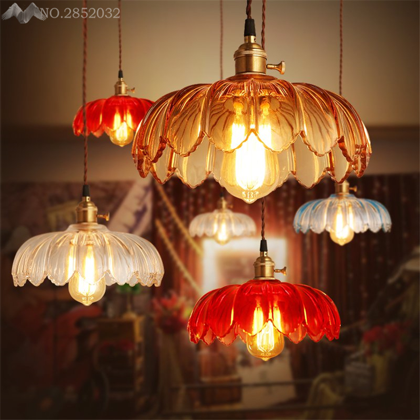 LFH American Romantic Retro Lotus pendant lamp Glass pendant light for living room bedroom cafe kitchen home lighting fixtures LFH American Romantic Retro Lotus pendant lamp Glass pendant light for living room bedroom cafe kitchen home lighting fixtures