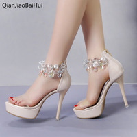 QianJiaoBaiHui High quality Rhinestone Crystal Sandals Super High Heel Women Sexy Clear Band Platform Sandals Ladies Party Shoes