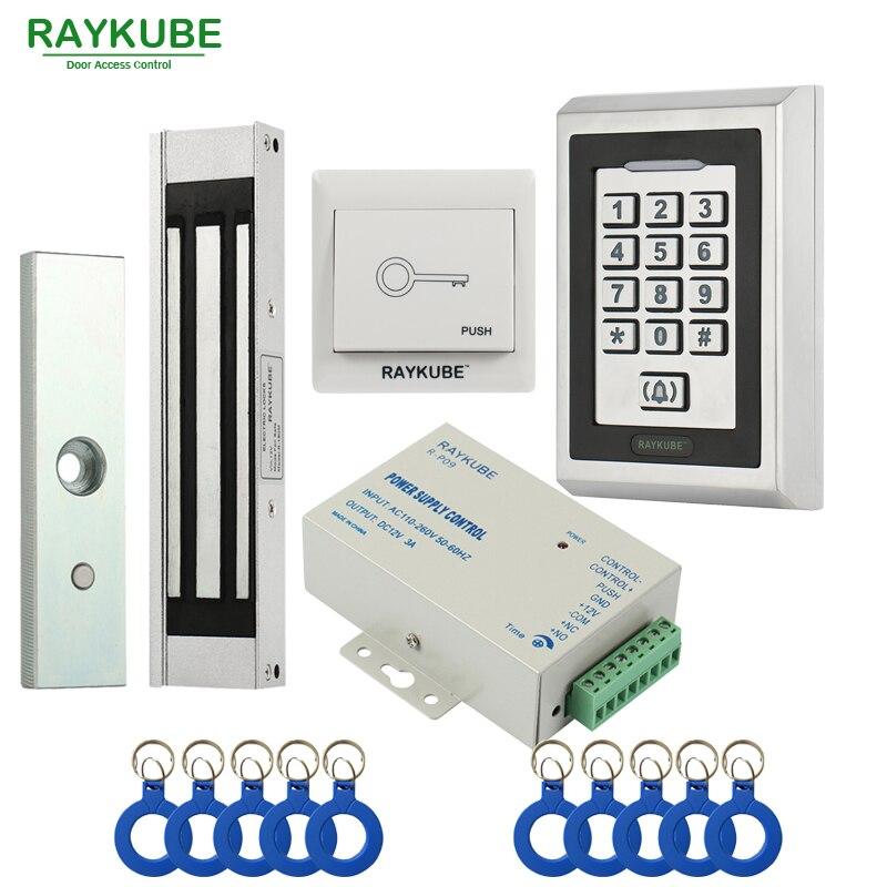 RAYKUBE Électrique Serrure Magnétique De Contrôle D'accès Système Kit 180 kg/280 kg + Métal RFID Clavier Serrure de Porte