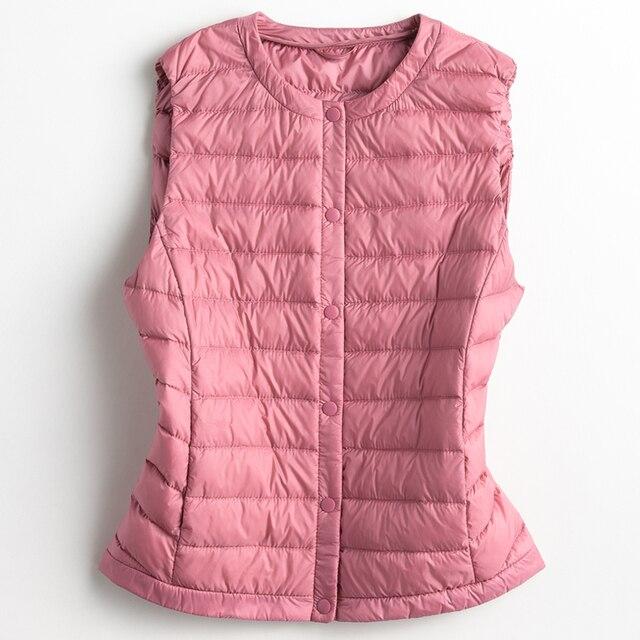 New Autumn Winter Women Sleeveless Jacket Ultra Light White Duck Down Vest Female Outwear Warm Waistcoat Slim Vest Coat SF427