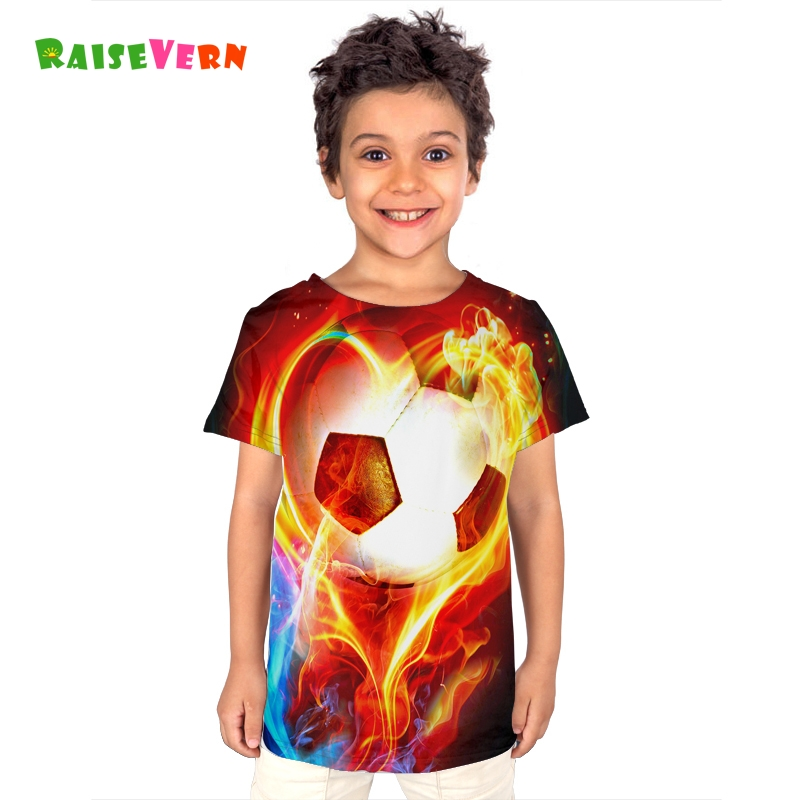 2018 New Cool 4-12T Children Short-sleeved T-shirt Fire Football Printed Tee Kids Boy Soccer Sport Clothes Russia Casual Tops knot hem printed tee