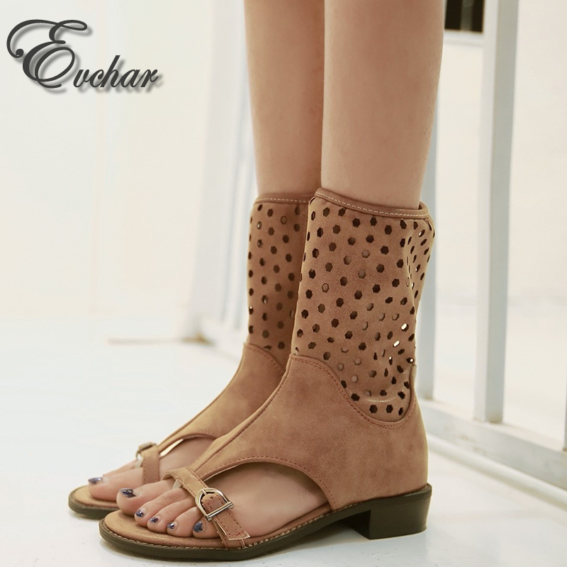 ФОТО Summer Fashion Gladiator Mid-calf cool boots low square heels Cut-outs Toepost shoes buckle side zipper boots big   size 34-43
