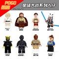 8 Unids Luke Qui-gon Jinn Starwars STAR WARS Jedi Knight Rogue Uno Figuras Ensamblan Bloques de Construcción Para Niños de Navidad Juguetes de regalo