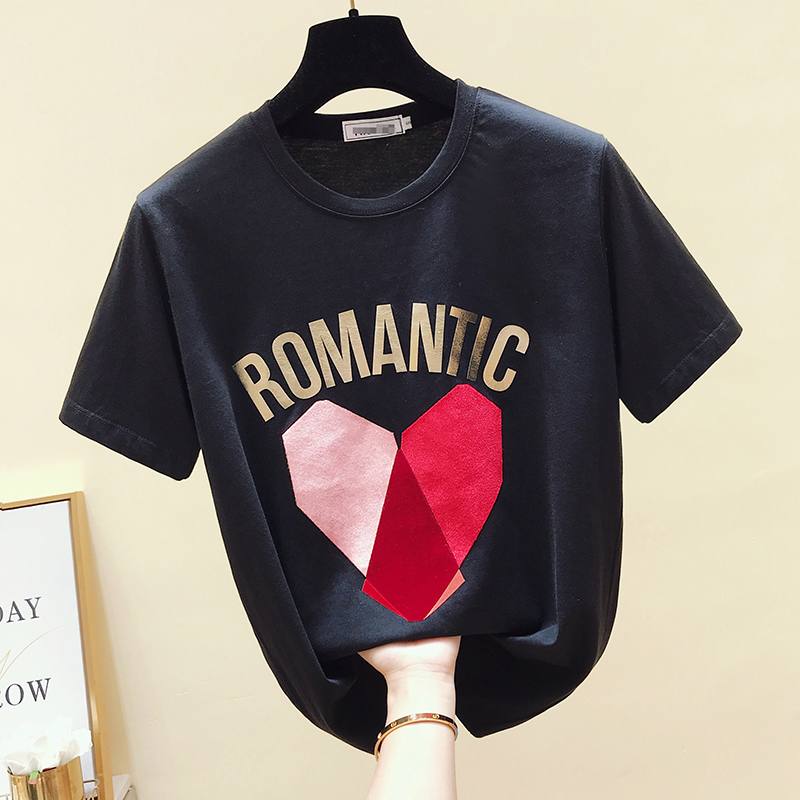 2019 Summer Fashion Women Casual Letter Print Short Sleeves Cotton T-Shirt Students Pullover Tee Tops A848