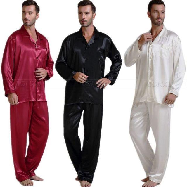 Mens De Satén de Seda Pajamas Set Pijama pijama Conjunto PIJAMA Conjunto ropa de Dormir Loungewear S, M, L, XL, 2XL, 3XL, 4XL _ _ Regalos Perfectos