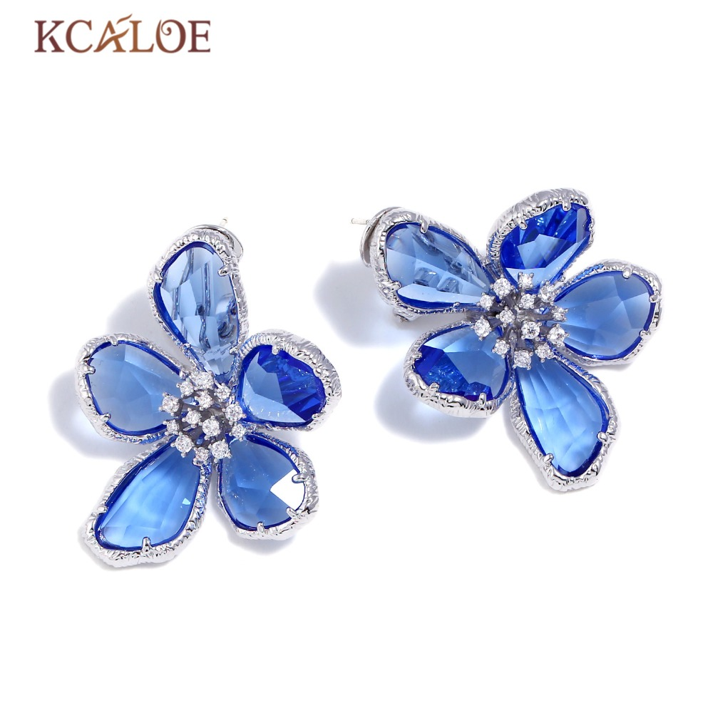 KCALOE Blue Transparent Crystal Big Flowers Stud Earrings For Women Rhinestone Wedding Engagement Silver Color Luxury Earring
