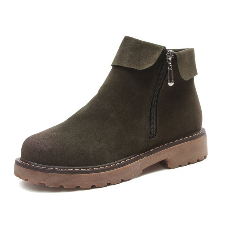 COOTELILI Side Zipper Ankle Boots For Women Winter Shoes Fashion Rubber Sole Platform Boots Ladies Shoes Black Brown 35-39 (1)