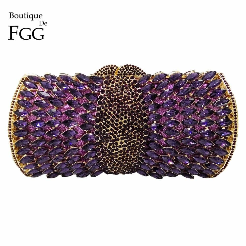 Boutique De FGG Elegant Purple Women Crystal Evening Bags Hollow Out Ladies Diamond Minaudiere Wedding Clutch