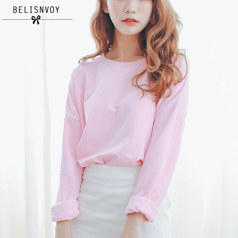 College Wind Fashion 2016 Autumn New Women T Shirt Casual Loose Cotton Candy Colored Bat Sleeve