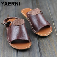 YAERNI Woman Shoes Gladiator Women Sandals Genuine Leather Ladies Summer Shoes Female Footwear