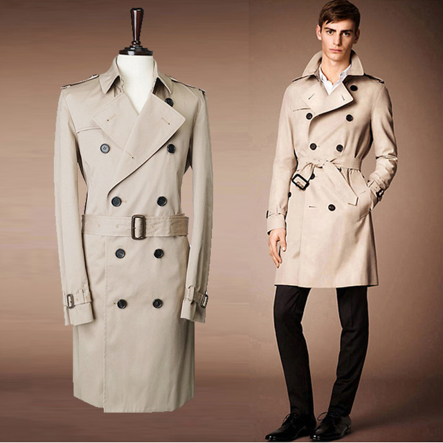46fb2f28c2 2015 Mens trench coat long winter fashion belt double breasted pea coat  Trenchs male elegant slim Fit overcoat men trench p90