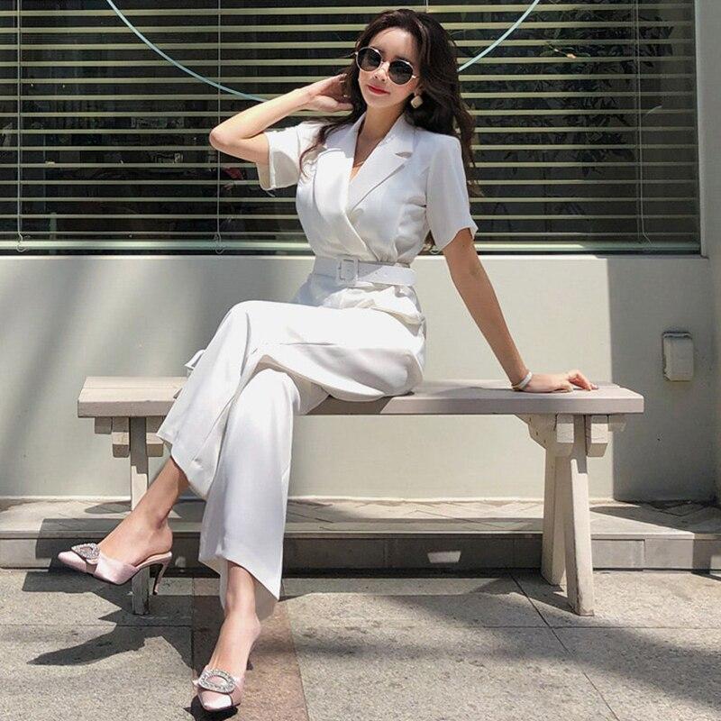 Office Ladies Notched Collar Short Sleeve Sashes Women Jumpsuit Elegant Work Business Wide Leg Pant White Jumpsuits Female 2019
