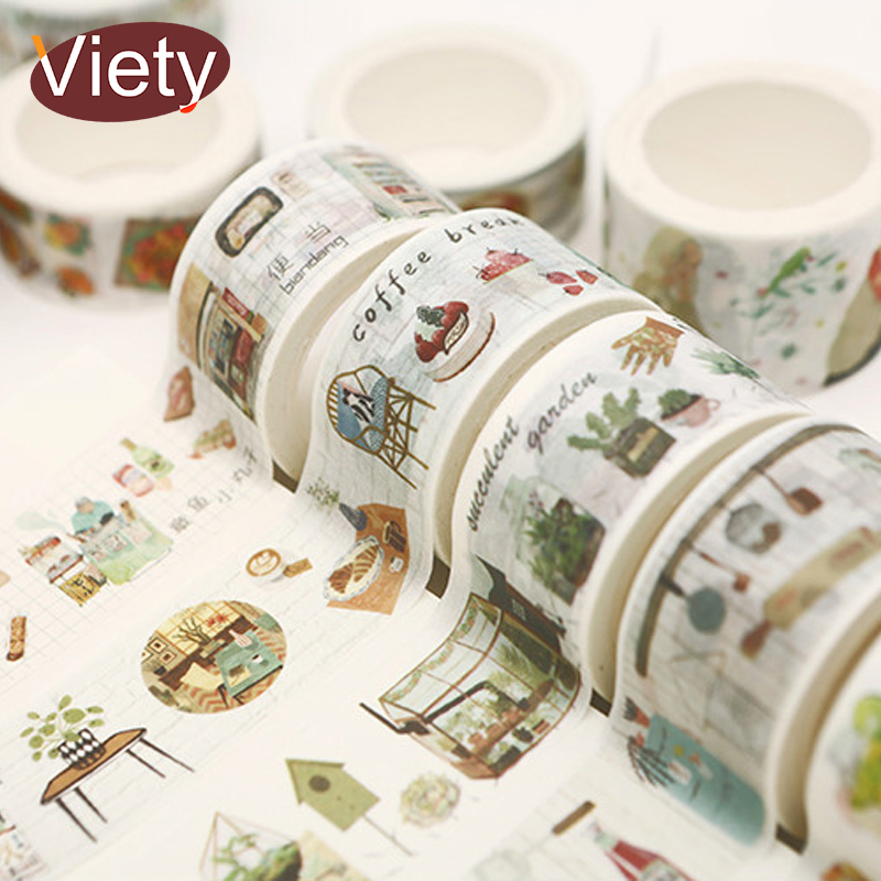 2-3cm*7m Groceries Life food shop washi tape diy decoration for scrapbooking masking tape adhesive tape kawaii stationery plastic standing human skeleton life size for horror hunted house halloween decoration