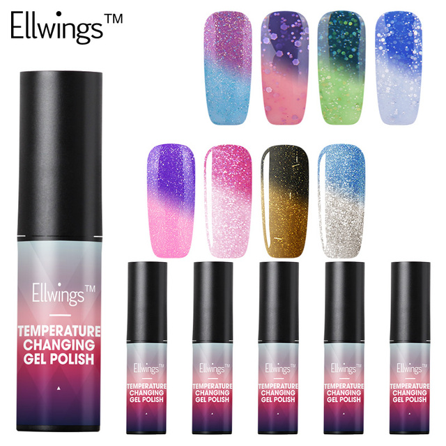 Ellwings 1pcs Mood Temperature Color Changing Nail Polish 6ml Gel Thermal Change Uv