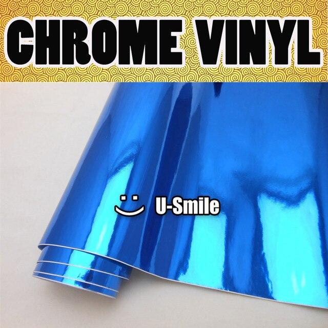 DARK BLUE CHROME Vinyl Roll Sticker Dark Chrome Blue Sheet Air Bubble Free For Car