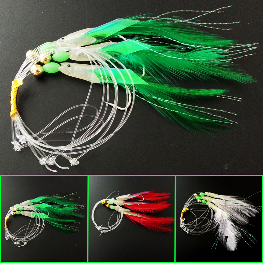 6 packs 3 colors ocean rig sabiki soft fishing lure hooks for Sabiki rig fishing
