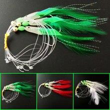 6 packs 3 colors ocean rig sabiki Soft Fishing Lure hooks fishing tackle sabiki fish head lure baits feather Sea fishing lure