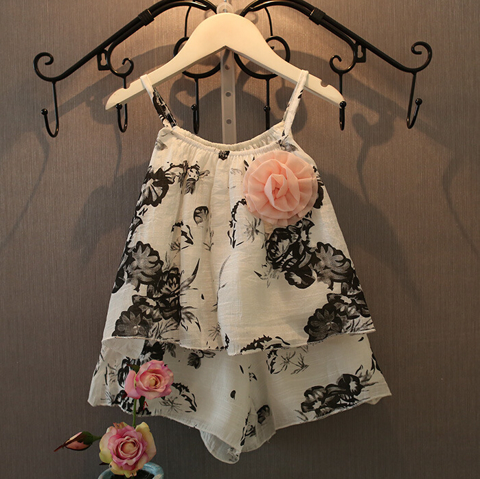 Girls clothing sets New 2016 summer style kids clothes girls toddler children clothing flower dress sling+ short pants