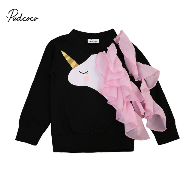 58c5bff98882 Pudcoco Newborn Baby Girls Long Sleeve Unicorn Ruffle T shirt Tops ...