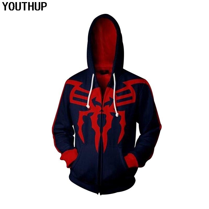 YOUTHUP 2018 Новый 3D толстовки Для мужчин пальто «Человек-паук» на молнии с принтом с длинным рукавом толстовки с капюшоном Для мужчин Прохладный...