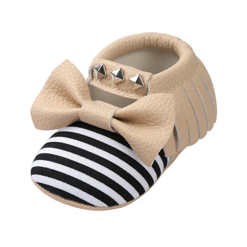 New Soft Moccs Newborn Shoes Fringe Soft Leather Soled Non-slip Footwear Crib Shoes New PU rivet Leather