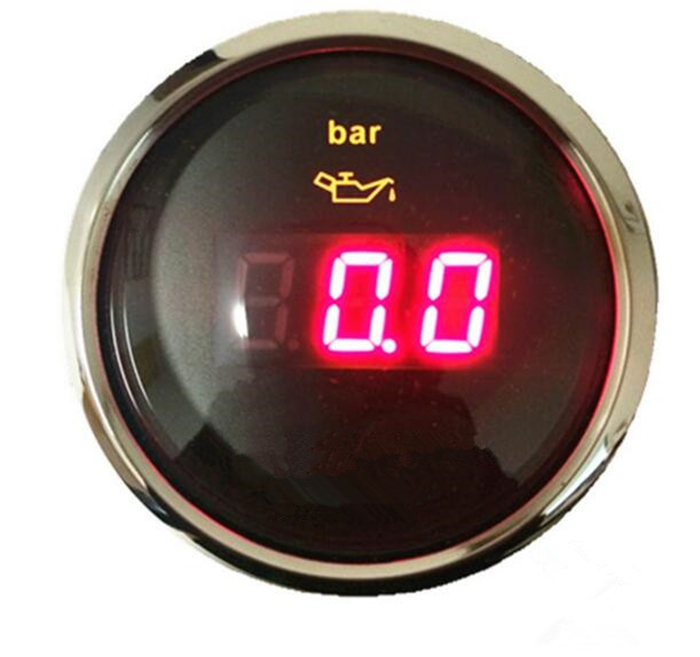 1pc digital oil pressure gauges 52mm oil pressure meters 0-10bar with red backlight for auto boat agricultural machinery цена