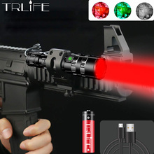 цена на Green/Red/White LED Tactical Flashlight 60000Lus 5modes USB Charging Torch for Hunting+Gun Mount+18650 Battery+Remote Switch+Box