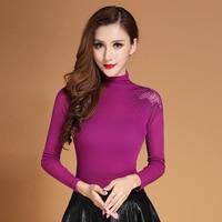 Newest Top Korean 2016 Women Blouses Autumn Turtleneck Hollow Out Shirts Plus Size Fashion Long Sleeve