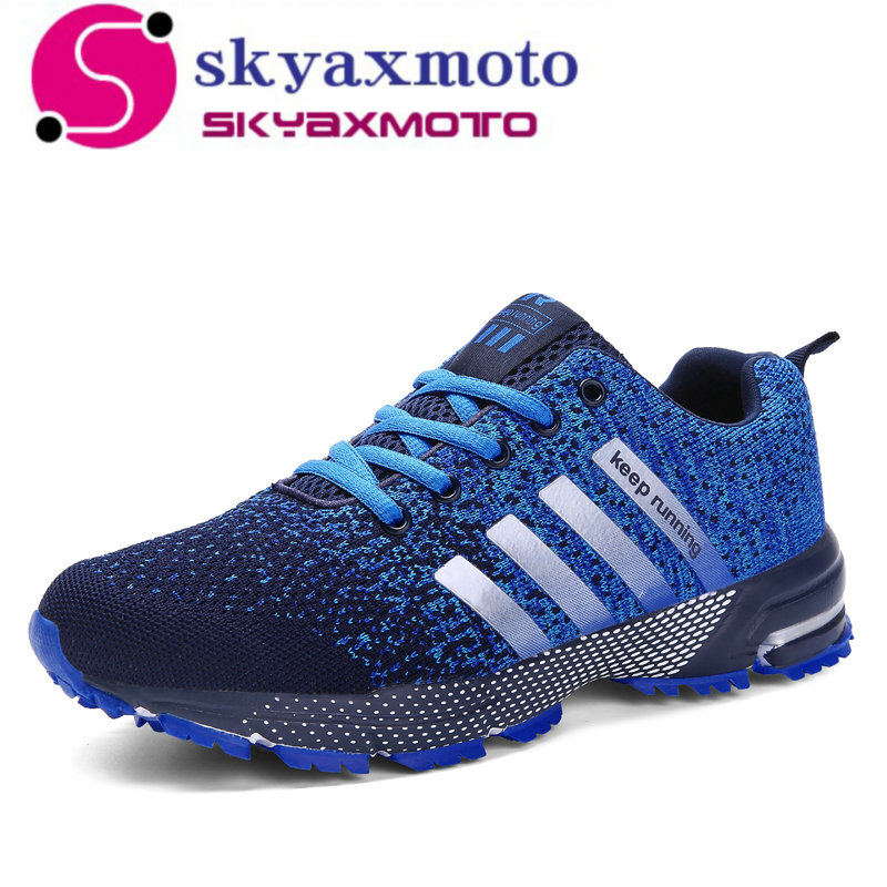 Plus Size 35-47 Running Shoes for Men Lace Up Athletic Shoes 2018 Outdoor Walking Jogging Shoes Women Air Mesh Breathable Sneake lace up breathable mesh athletic shoes