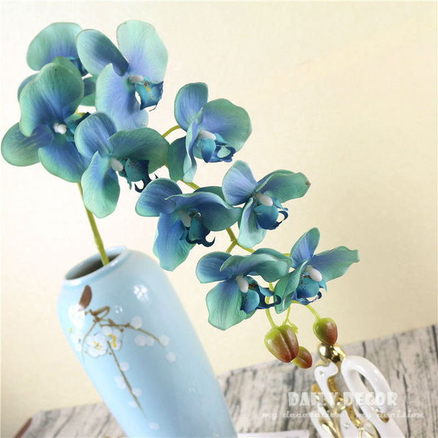 18795a6031 9 heads Real touch large artificial silicone butterfly orchid wholesale  felt latex flowers wedding decorative Phalaenopsis