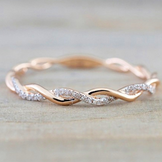 Round Rings For Women Thin Rose Gold Color Twist Rope Stacking Wedding In Stainless Steel