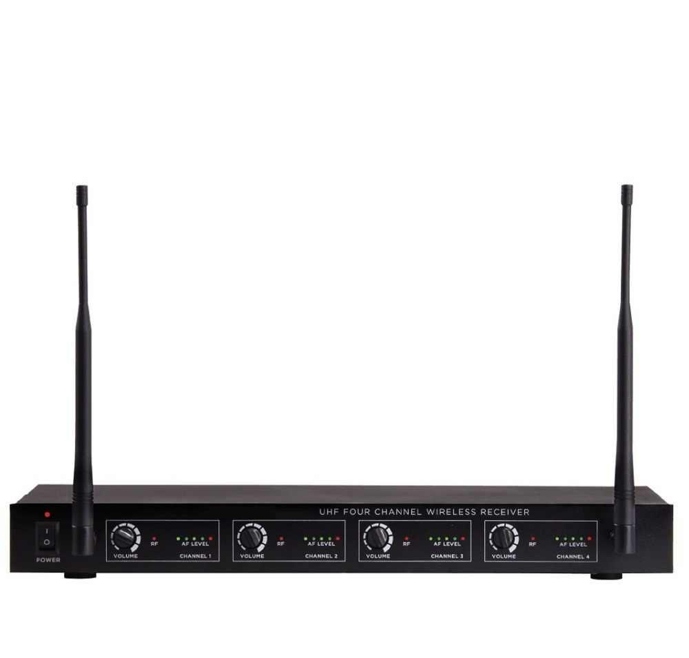 Bolymic Profesional Empat Channel UHF Sistem Mikrofon Nirkabel 4 Headset dengan Bodypack untuk Mengajarkan Gereja Bernyanyi Gereja, Ruang Rapat