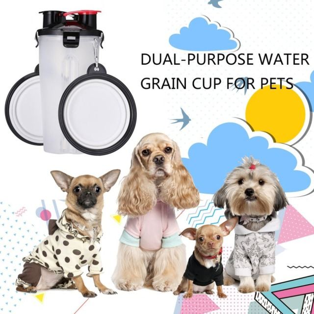 2 In 1 250ML Dogs Cats Feeding Feeder 350ML Dog Drinking Water Bottle Outdoor Travel Dual Purpose Food Storage Brings Two Bowls 2