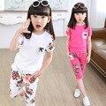 Подростки Девушки Спорт Установить Корейский Ребенок Летний Костюм Ребенок Мода Кофты И Цветочные Короткие Брюки Дети Костюмы