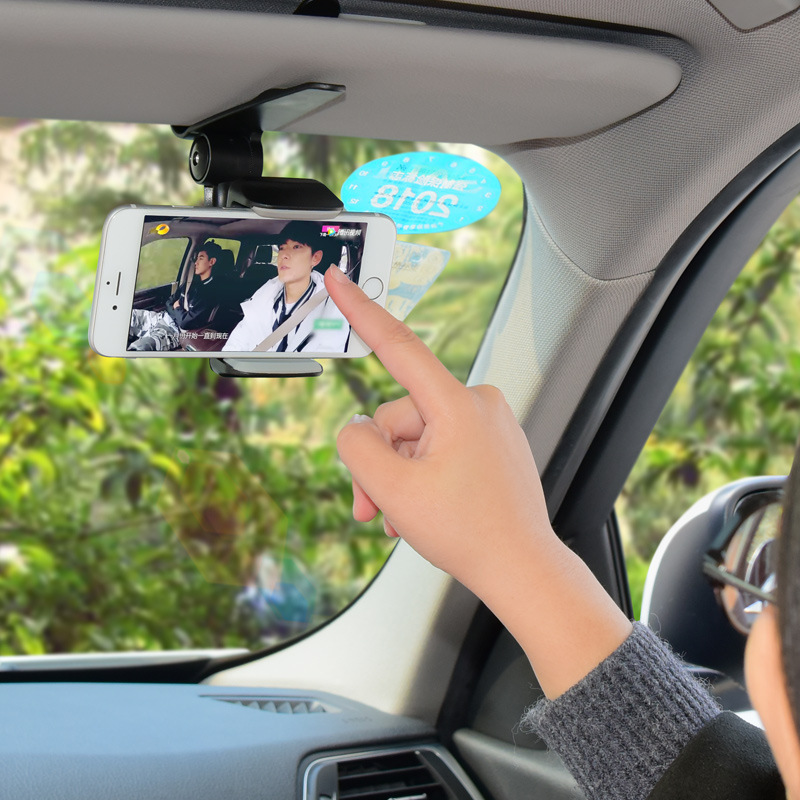 Image 2 - Universal Car Sun Visor Phone Holder 360 Degree Rotation Automobiles Navigation Mount Stand Clip Mobile Phone Bracket Accessory-in Ornaments from Automobiles & Motorcycles