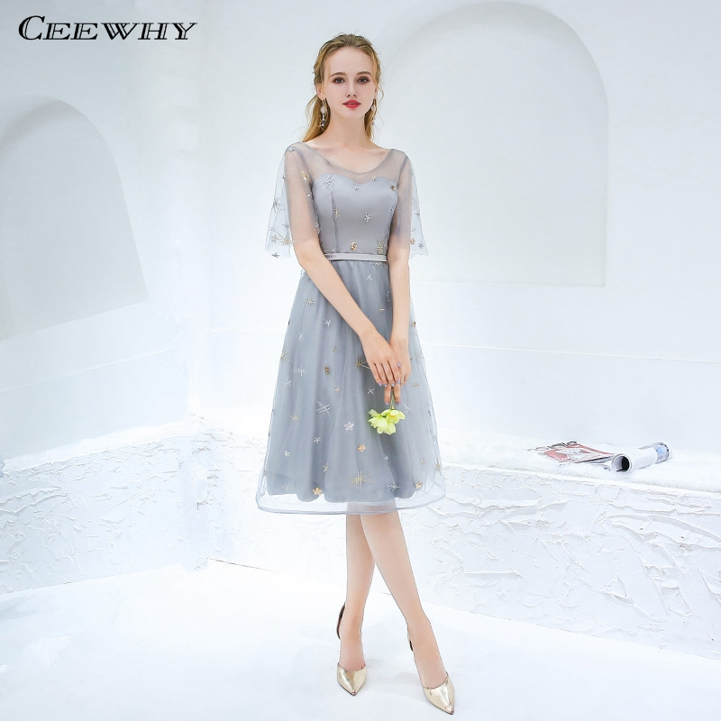 CEEWHY Scalloped Gray Knee Length Formal Dress Women Elegant Short Prom Party Dress Homecoming Dress Vestidos