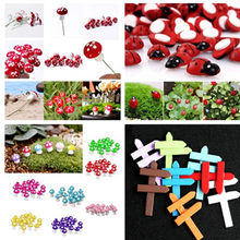 10Pcs/lot Kawaii Mushroom Ladybug Sign Board Signboard Mini Fairy Garden Animal Statue Miniature Resin Craft(China)