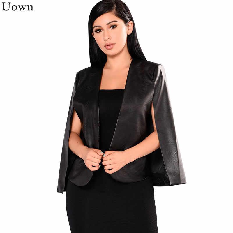 Doyerl Black PU Leather Cloak Coat Casual Split Poncho Jacket for Women Fashion Cape Coat Open Front Slim Office Ladies Blazer