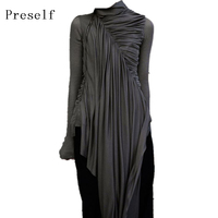 Preself Dresses Turtleneck Irregular Asymmetric Dress Vestidos Fashion Woman Stylish High Quality Black Gothic Special Plus Size