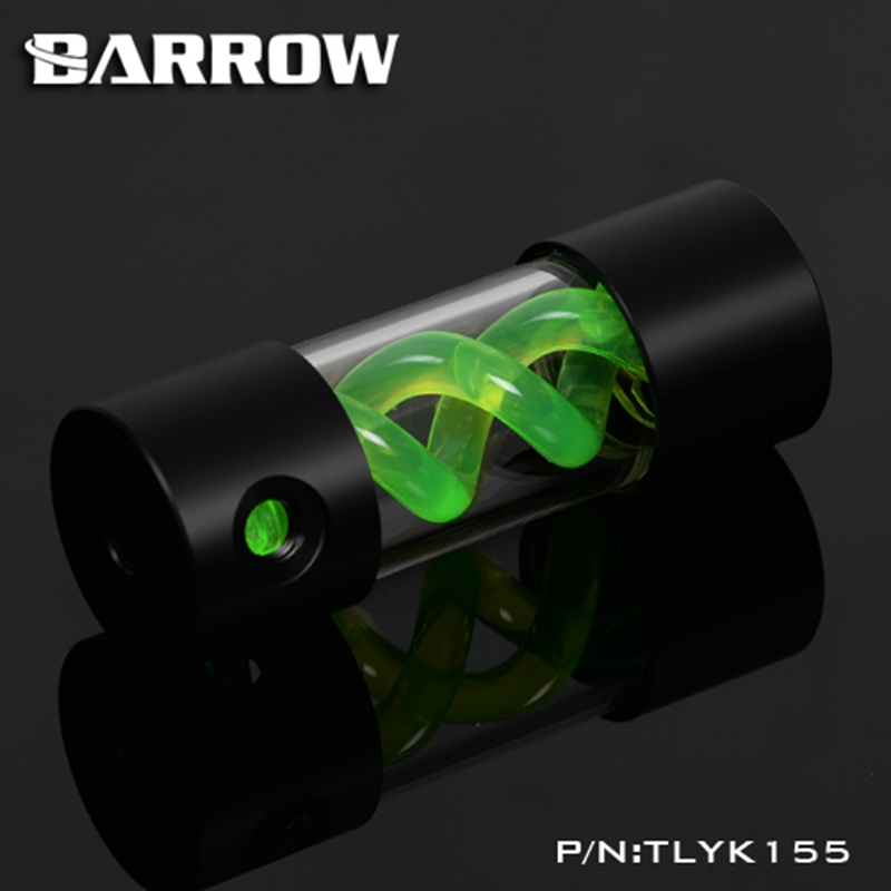 Barrow T Virus Helix Suspension Cylinder Water Tank 155mm Green With Black Cap Water Cooling  Reservoir TLYK155 barrow 155mm x 50mm double helix t virus cylindrical water cooled coolant tank light system pom pmma white cover 5 color tlyk155