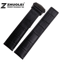 22mm New High Quality Alligator Crocodile Grain Genuine Leather Watch Band Strap With Black Deployment Clasp