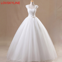 Simple Square Collar Lace Up Ball Gown Quality Wedding Dresses 2018 Customized Plus Size Bridal Dress Real Photo