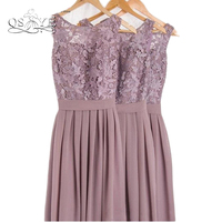 Dusty Mauve Bridesmaid Dresses For Weddings Lace With Applique Pleat Jewel Sleeveless Backless Prom Gowns 2017