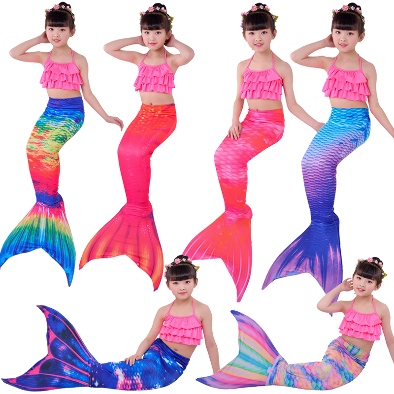 2019 HOT!Kids Children Swimsuit with Bikini Flipper Mermaid Tails for Swimming Mermaid tail with Top Girls Costumes Swimming